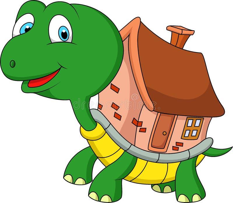 Bande dessinée de tortue avec la maison de coquille illustration stock