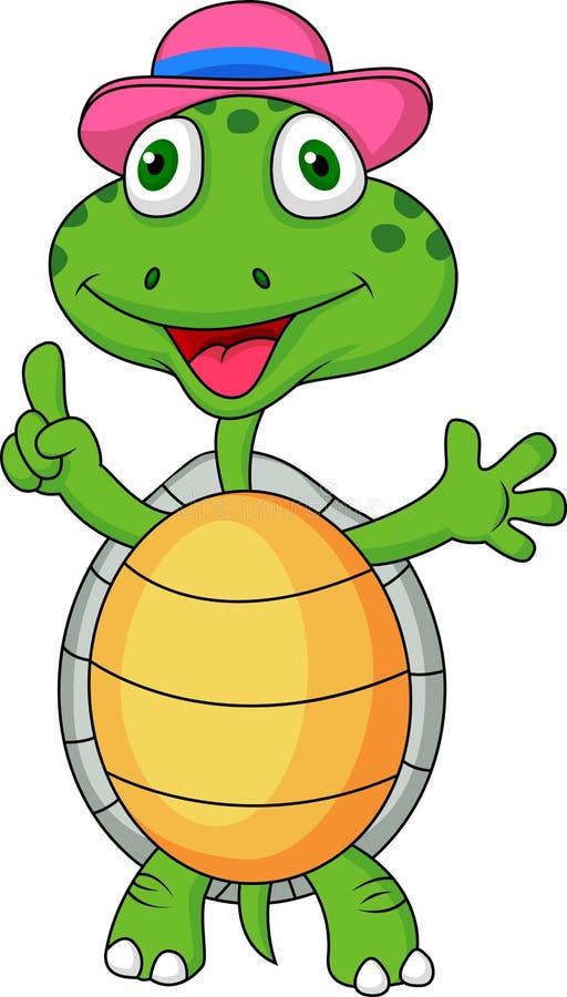 Bande dessinée de tortue avec le pouce vers le haut illustration de vecteur