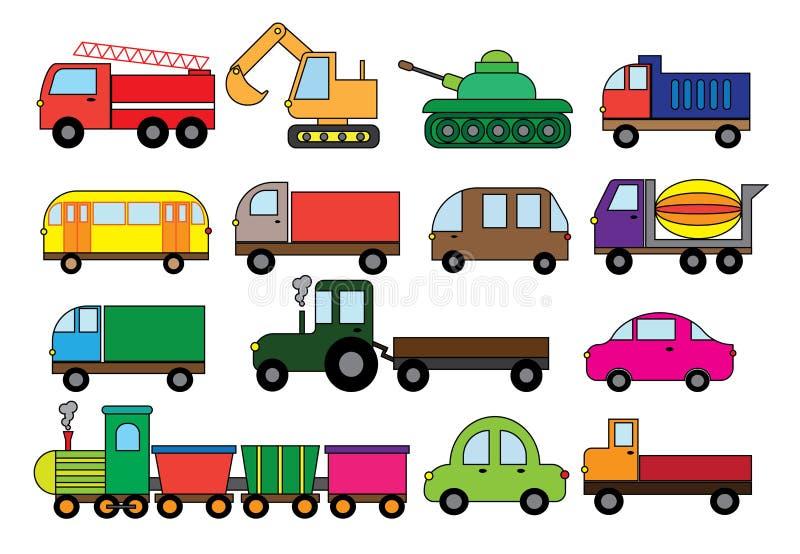 Bande dessinée de transport, ensemble Modes de transport extérieurs Voiture, autobus, train, camion de pompiers, mélangeur concre illustration libre de droits