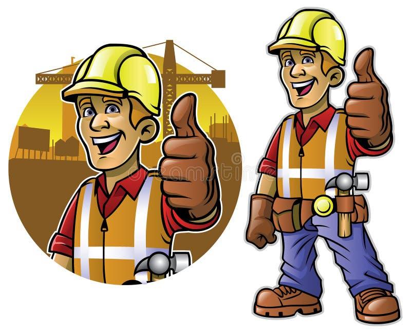 Bande dessinée de travailleur de la construction avec le pouce vers le haut de la main illustration de vecteur