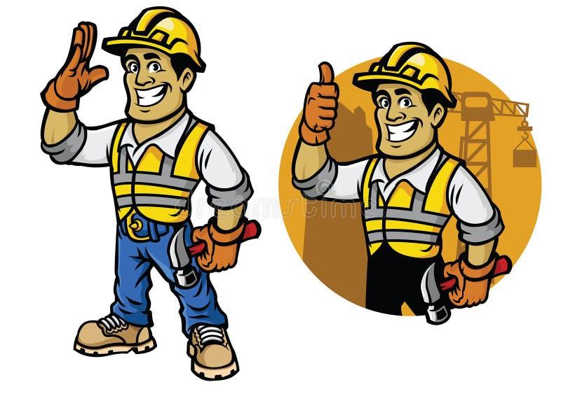Bande dessinée de travailleur de la construction illustration libre de droits