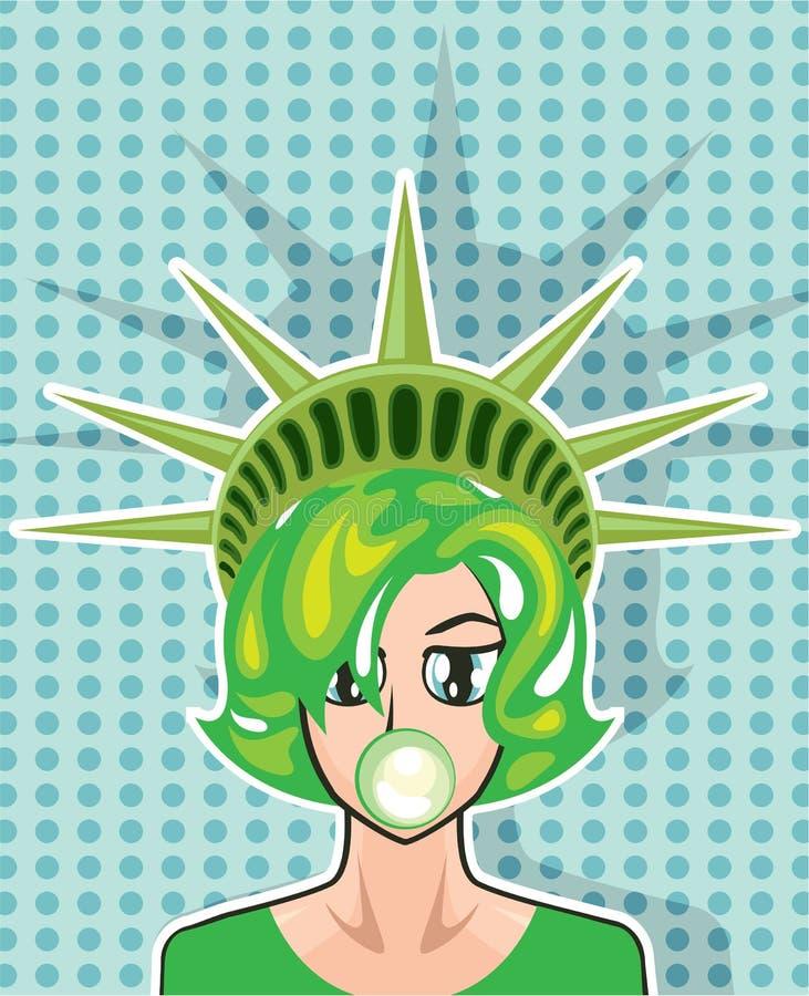 Bande dessinée de vecteur de Mlle America illustration de vecteur