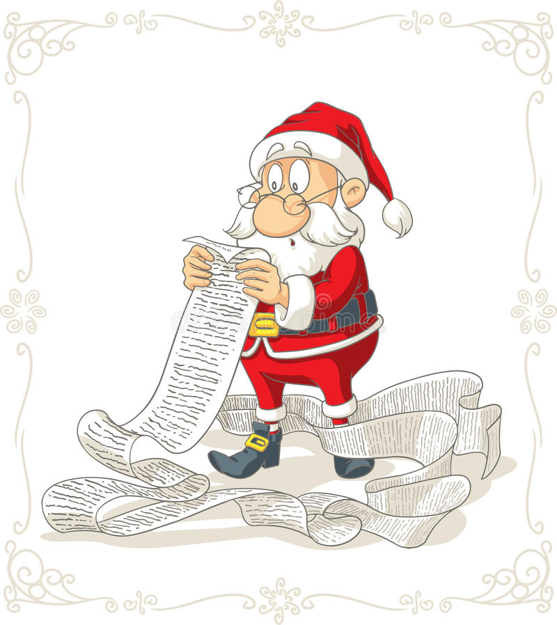 Bande dessinée de vecteur de Santa Claus Reading Big Presents Wishlist illustration libre de droits