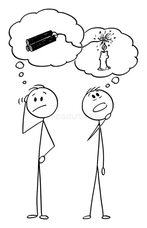 Bande dessinée de vecteur de deux hommes ou hommes d'affaires pensant à la solution de problème illustration stock