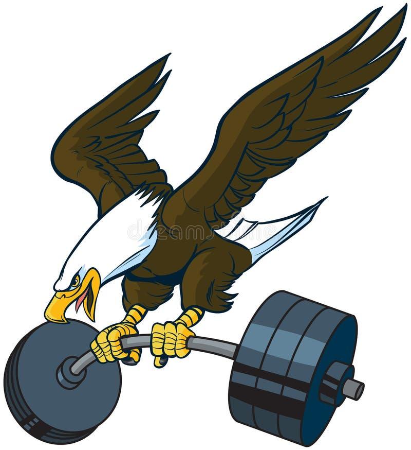 Bande dessinée de vecteur Eagle Diving chauve avec le Barbell illustration libre de droits