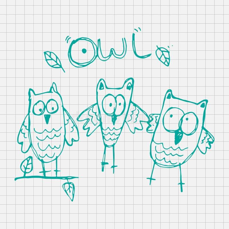 Bande dessinée de vecteur de hibou de griffonnage avec le fond de papier, illustration pour des enfants illustration libre de droits