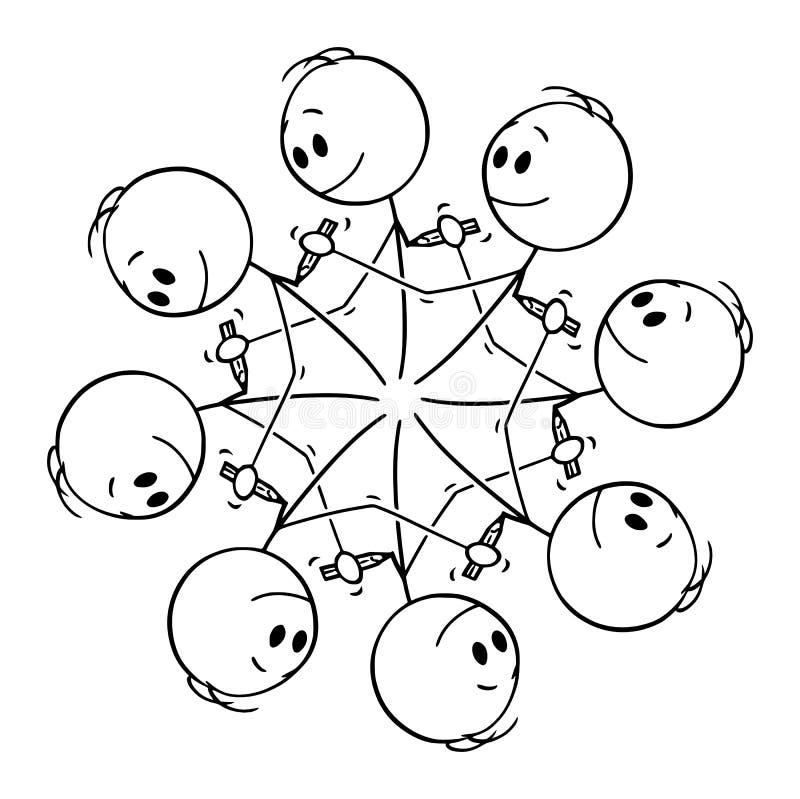 Bande dessinée de vecteur de l'élément graphique circulaire des hommes se dessinant avec le crayon illustration de vecteur