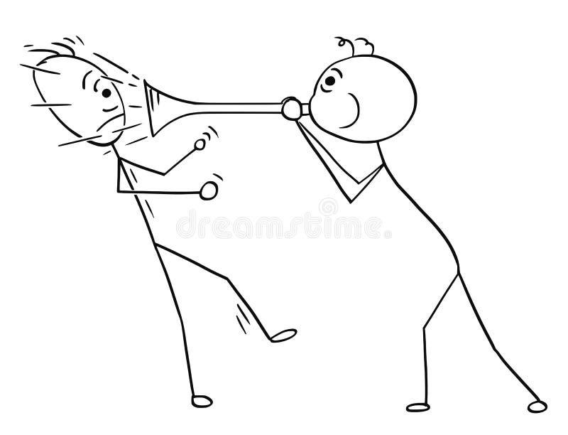 Bande dessinée de vecteur de l'homme à l'aide du klaxon pour jouer le bruit contre un autre M illustration stock