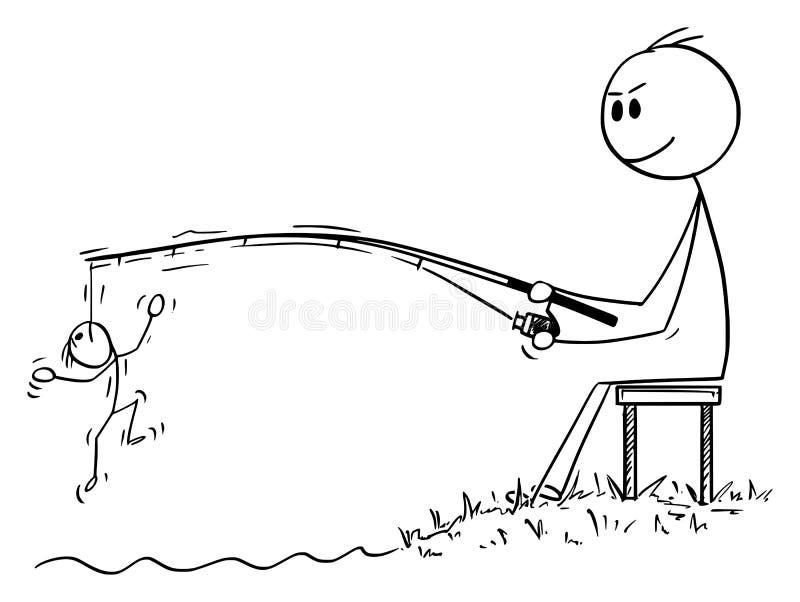 Bande dessinée de vecteur de l'homme ou d'homme d'affaires Fishing et pêche à la ligne d'un autre homme, client, client luttant s illustration de vecteur