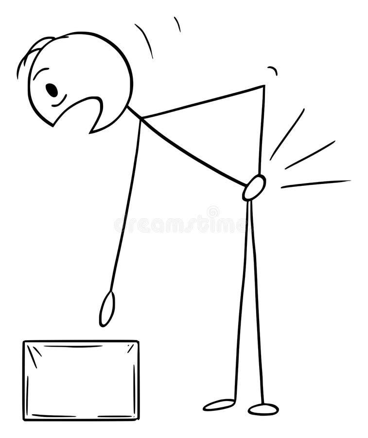 Bande dessinée de vecteur de l'homme qui a blessé son dos tout en se soulevant vers le haut de la boîte illustration de vecteur