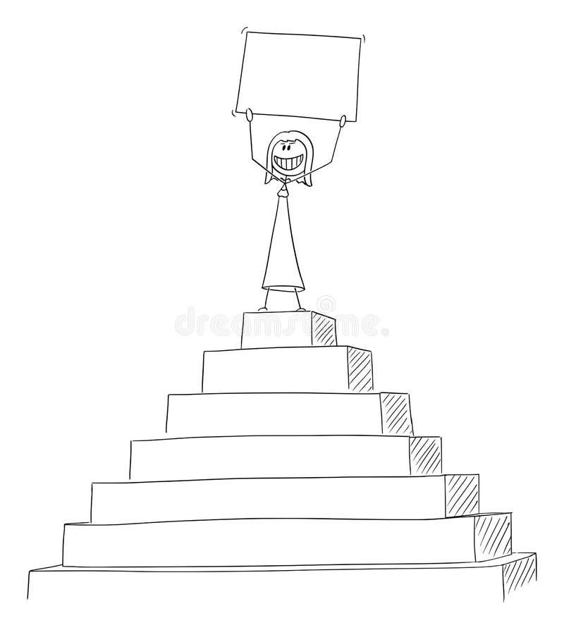 Bande dessinée de vecteur de la femme ou de la femme d'affaires réussie Celebrating Success sur la crête du signe vide de partici illustration stock
