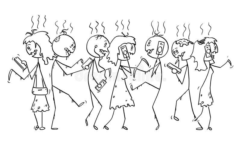 Bande dessinée de vecteur de la foule des zombis dépendants ou des personnes mortes marchant sur la rue et à l'aide des téléphone illustration de vecteur