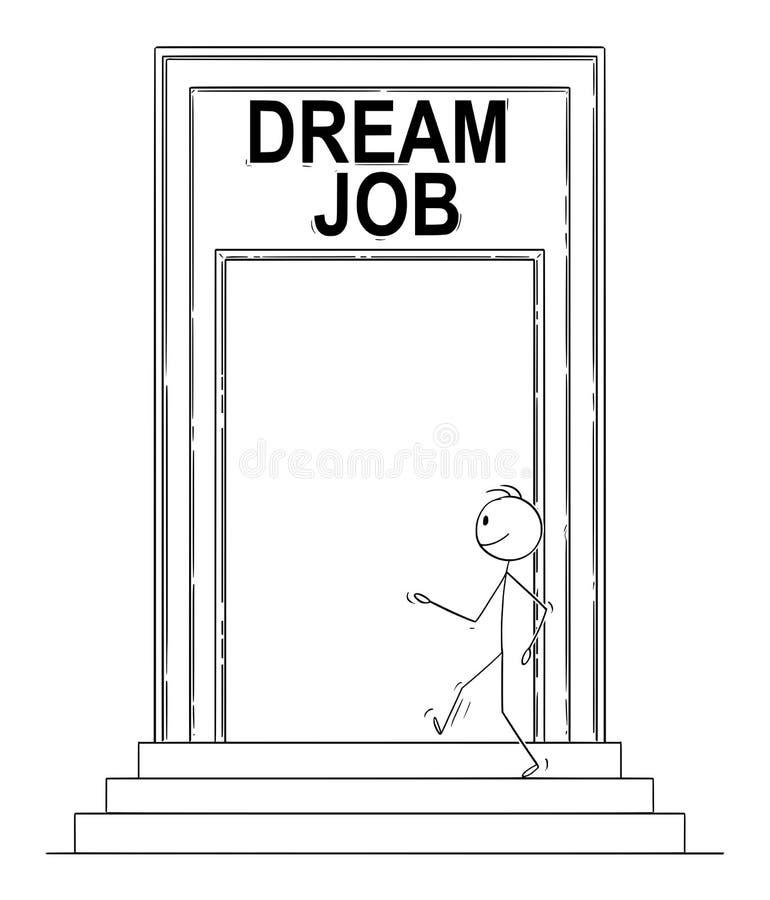 Bande dessinée de vecteur de porte sûre d'homme ou de Walking Through Big d'homme d'affaires avec le signe rêveur du travail illustration libre de droits