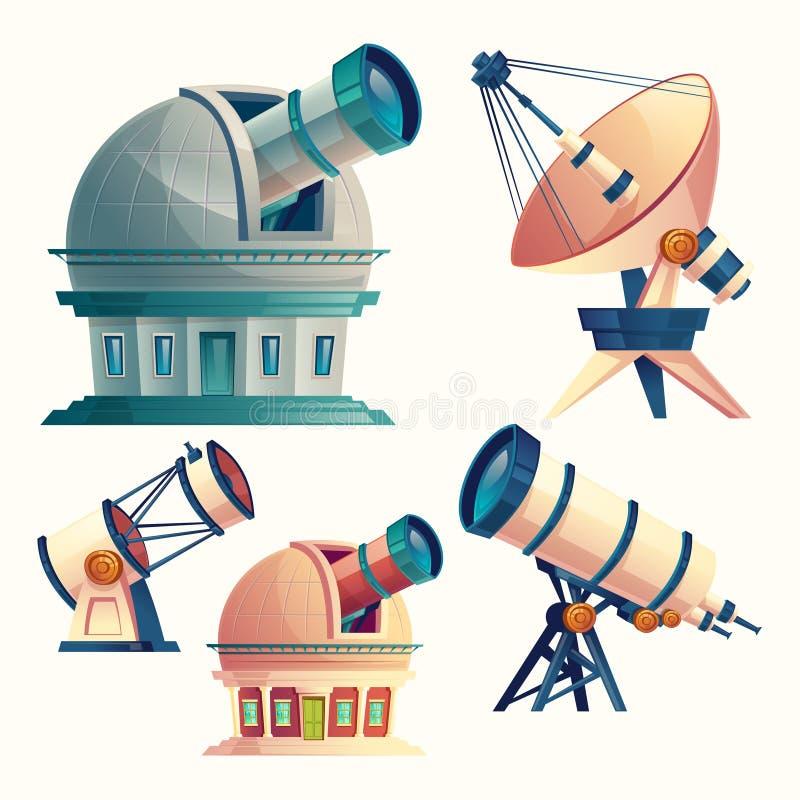 Bande dessinée de vecteur réglée avec l'équipement astronomique illustration de vecteur