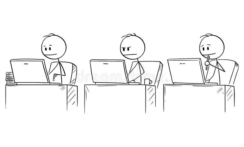 Bande dessinée de vecteur de trois hommes d'affaires travaillant ou dactylographiant sur des ordinateurs dans le bureau illustration libre de droits