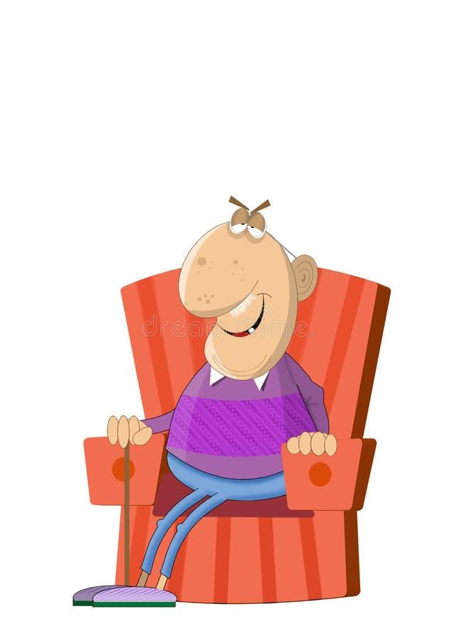 Bande dessinée de vieil homme se reposant dans son fauteuil illustration libre de droits