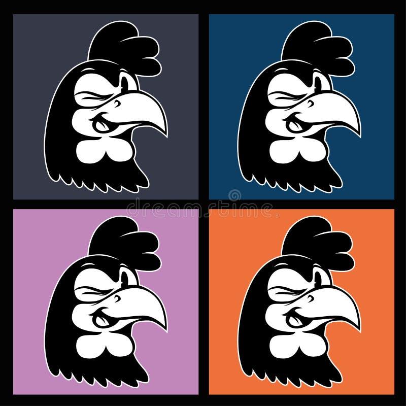 Bande dessinée de vintage quatre images du sourire et de cligner de l'oeil le rétro caractère de coq sur les places colorées illustration stock
