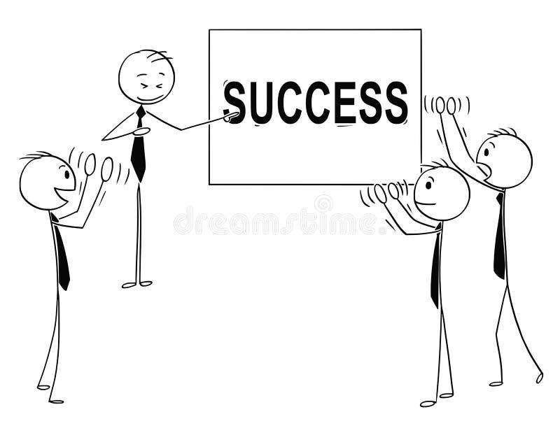 Bande dessinée des gens d'affaires applaudissant à l'orateur se dirigeant au signe de succès illustration de vecteur