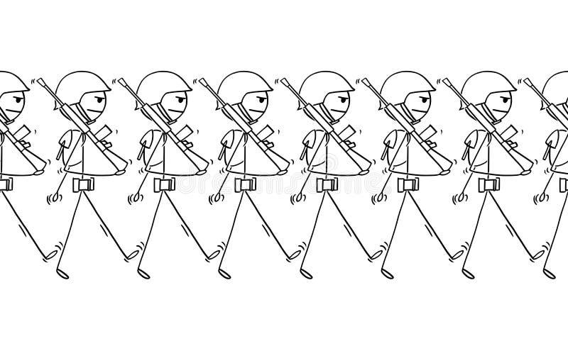 Bande dessinée des soldats modernes marchant sur le défilé ou dedans à la guerre illustration de vecteur