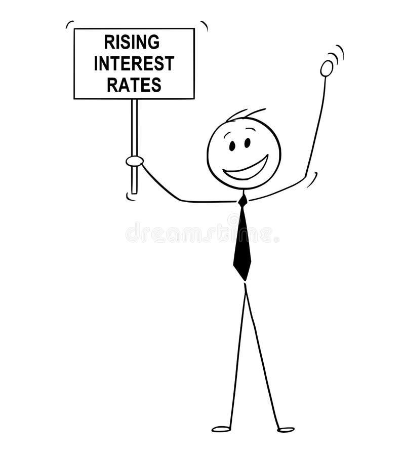 Bande dessinée des taux heureux d'homme, de banquier ou de Celebrating Rising Interest d'homme d'affaires illustration stock