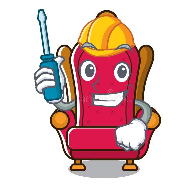 Bande dessinée des véhicules à moteur de mascotte de trône de roi illustration de vecteur
