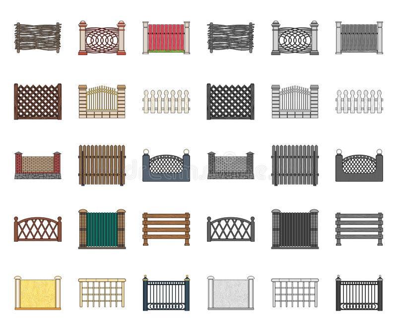 Bande dessinée différente de barrière, icônes mono dans la collection réglée pour la conception Illustration de clôture décorativ illustration stock