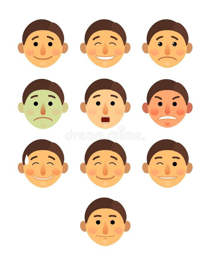 Bande dessinée différente de collection d'émotions de visage de garçon ou d'homme plate - ensemble d'illustration de vecteur d'ic illustration stock