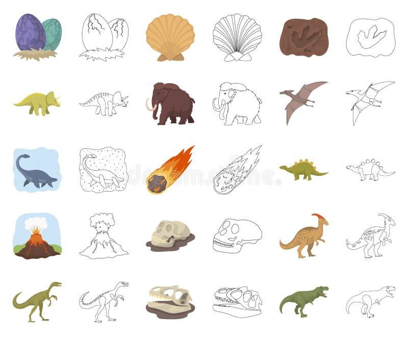 Bande dessinée différente de dinosaures, icônes d'ensemble dans la collection réglée pour la conception Web animal préhistorique  illustration libre de droits