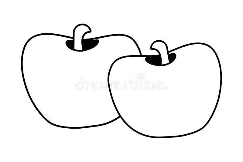 Bande dessinée douce de pommes illustration de vecteur