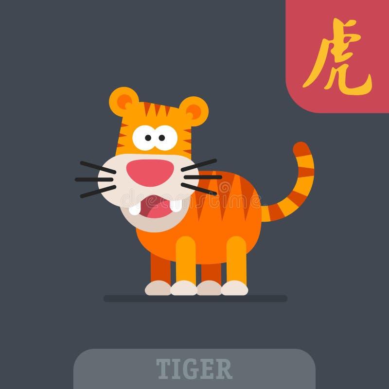Bande dessinée drôle d'hiéroglyphe chinois de zodiaque de caractère de tigre illustration stock