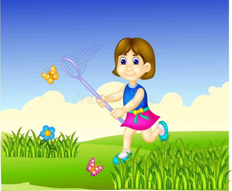 Bande dessinée drôle de fille fonctionnant avec le sourire et le papillon contagieux illustration de vecteur
