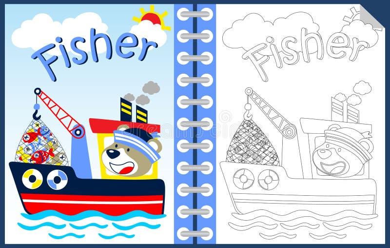 Bande dessinée drôle de marin sur le bateau avec le sort des poissons, du livre de coloriage ou de la page illustration stock