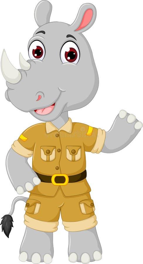 Bande dessinée drôle de rhinocéros se tenant avec le sourire et l'ondulation illustration de vecteur