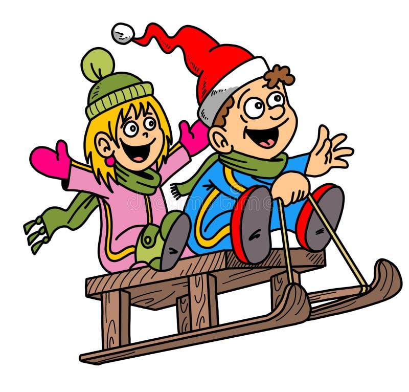 Bande dessinée drôle, enfants, traîneau, illustration, thème de Chritmas, neige image libre de droits