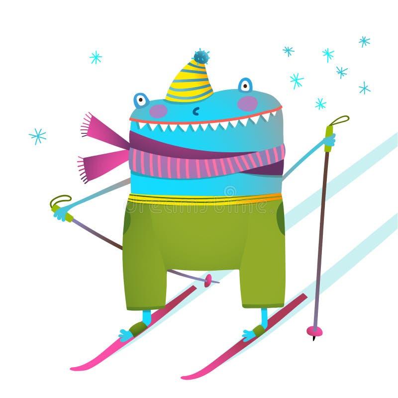 Bande dessinée drôle bizarre de conception d'enfants de skieur d'hiver illustration de vecteur