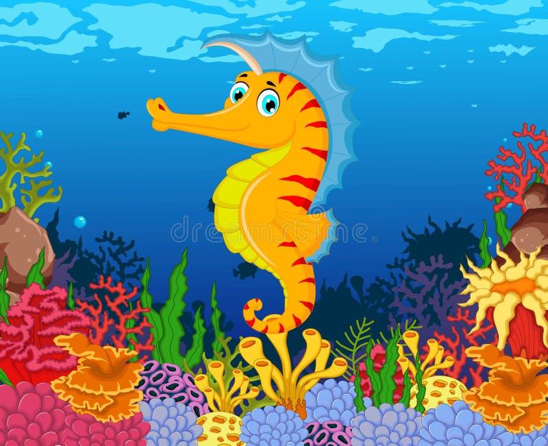 Bande dessinée drôle d'hippocampe avec le fond de vie marine de beauté illustration stock