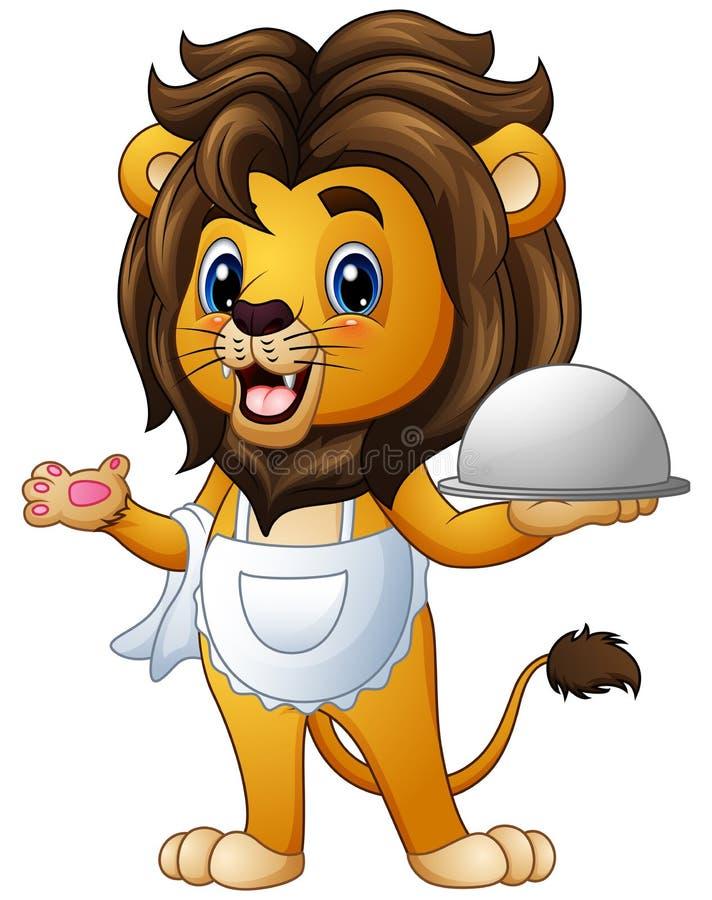 Bande dessinée drôle de chef de lion tenant un plateau illustration stock