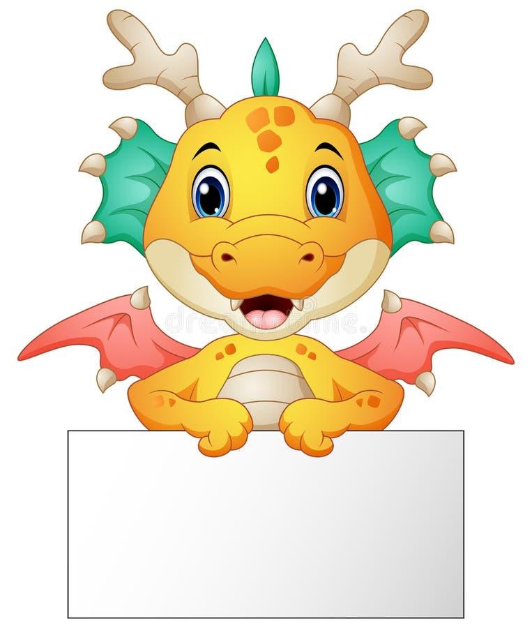 Bande dessinée drôle de dragon tenant le signe vide illustration de vecteur