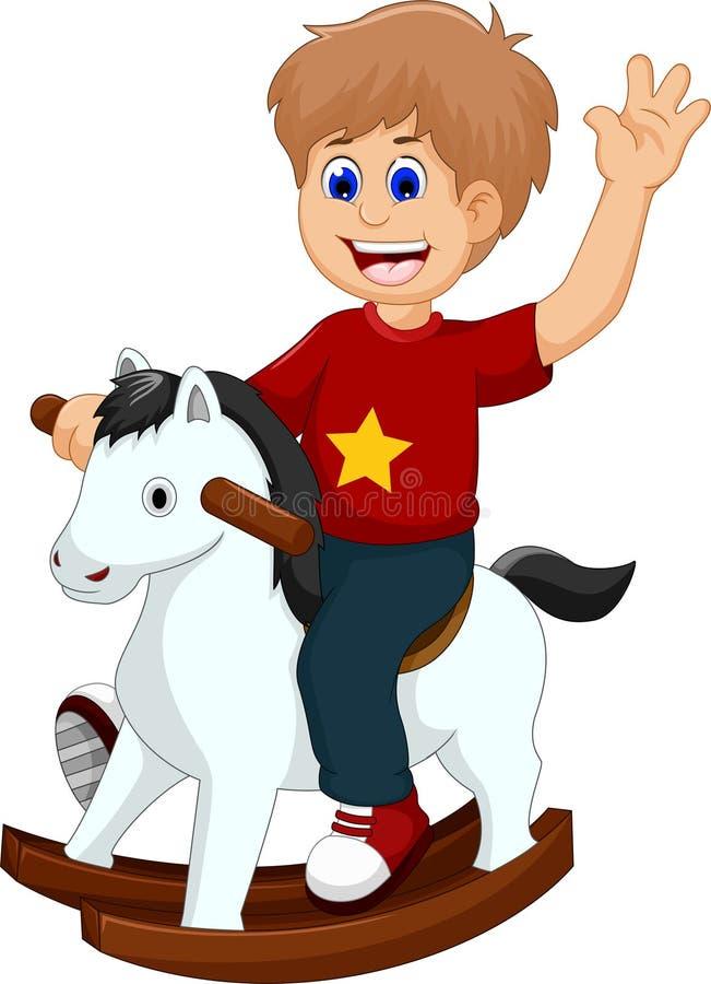 Bande dessinée drôle de petit garçon jouant le cheval de basculage illustration de vecteur
