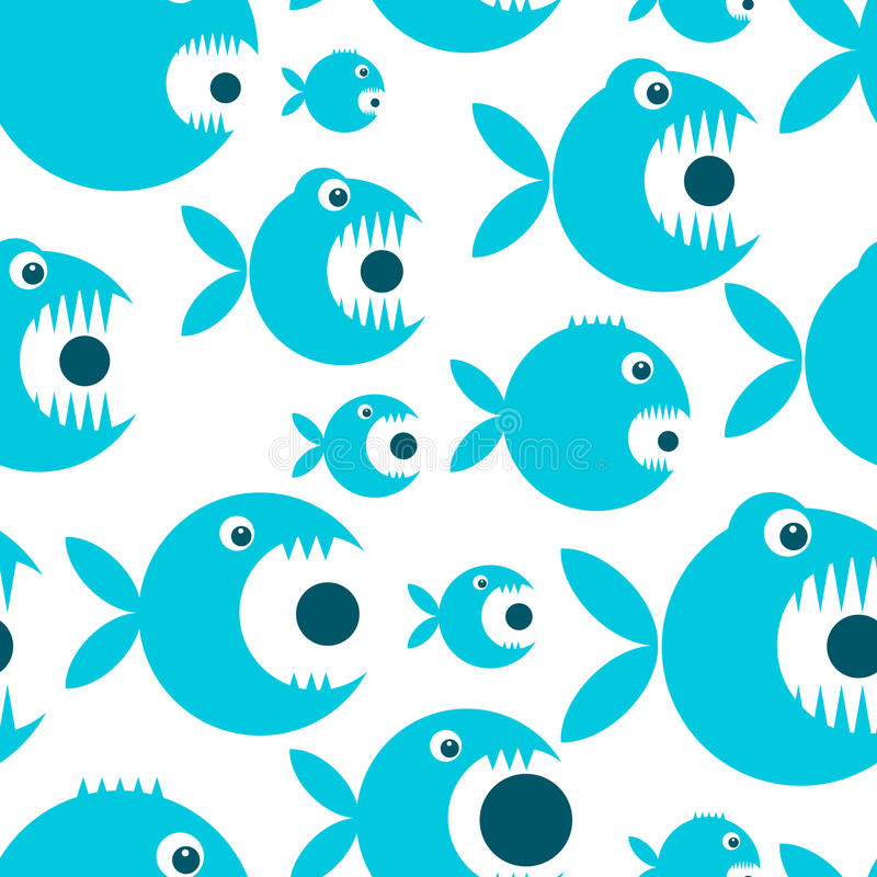 Bande dessinée drôle de poissons pour votre conception illustration libre de droits