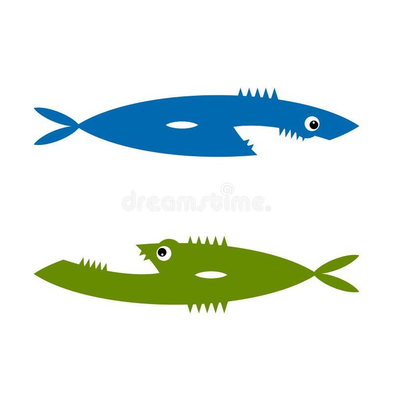 Bande dessinée drôle de poissons pour votre conception illustration stock