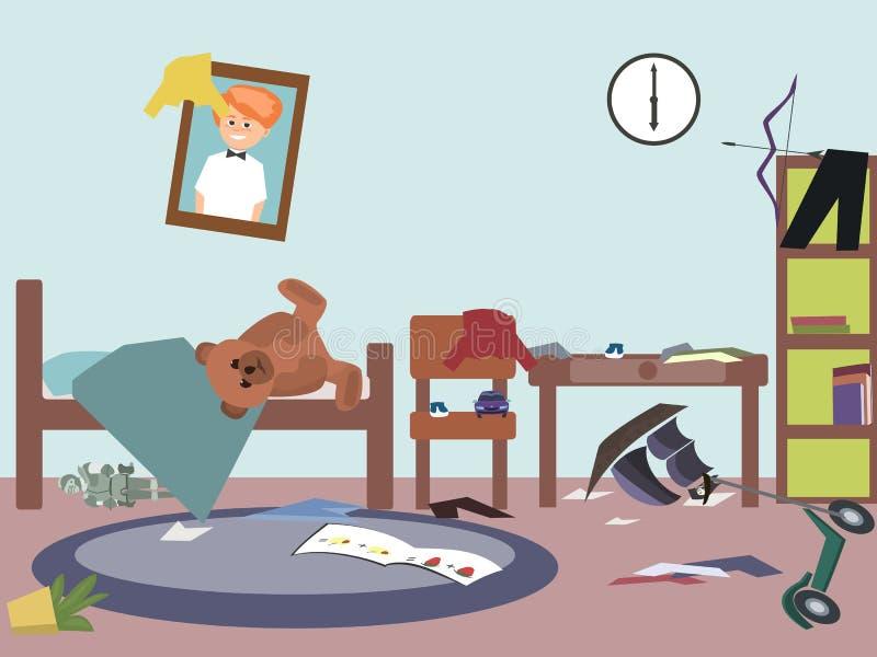 Bande dessinée drôle de vecteur de pièce malpropre d'enfants illustration de vecteur