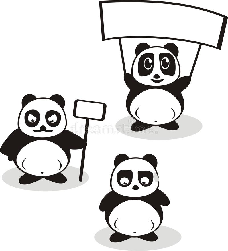 Bande dessinée drôle Panda Vector photo libre de droits