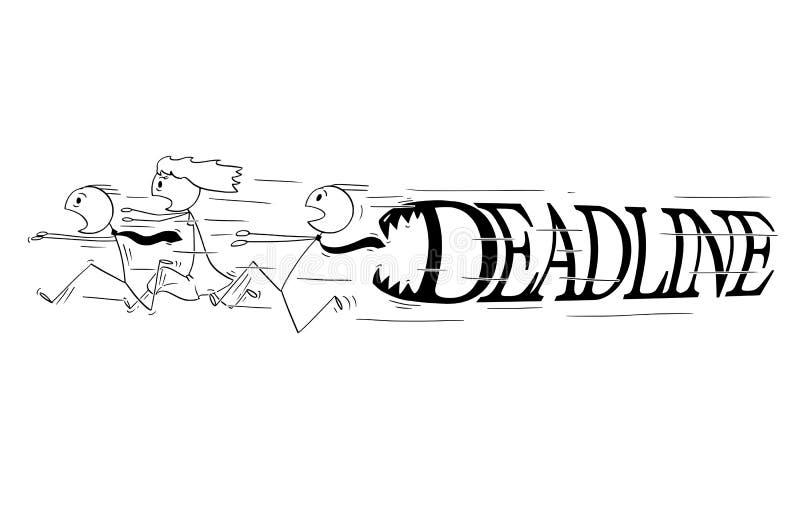 Bande dessinée du groupe d'hommes d'affaires courant dans la panique de grandes lettres de date-butoir avec des dents le chassant illustration libre de droits
