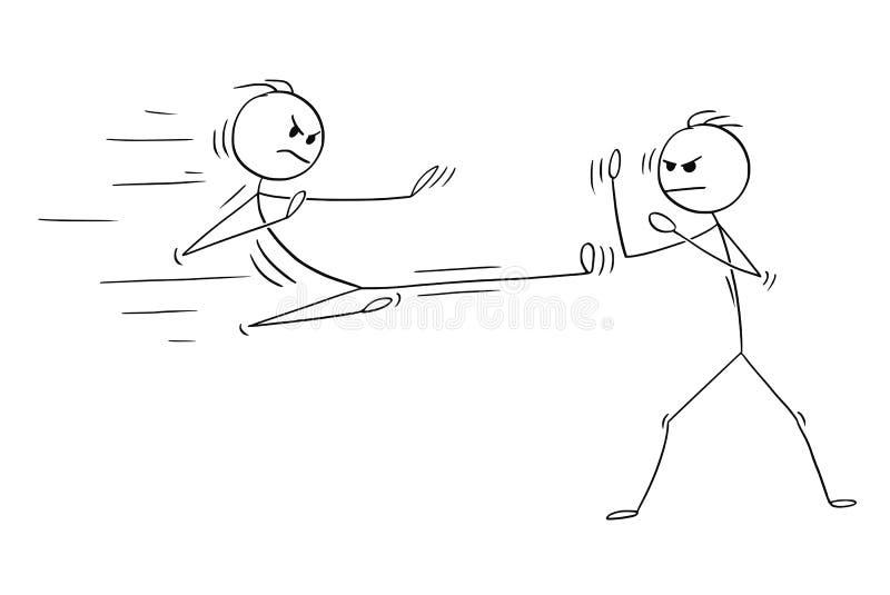 Bande dessinée du karaté ou le Kung Fu Fight ou la formation illustration stock