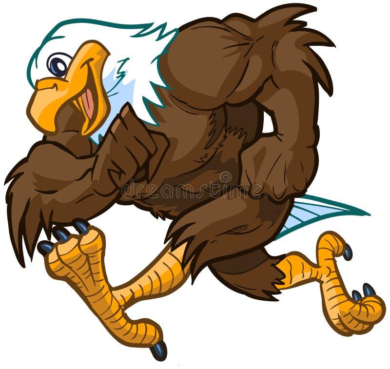 Bande dessinée Eagle Mascot Running chauve de vecteur illustration libre de droits