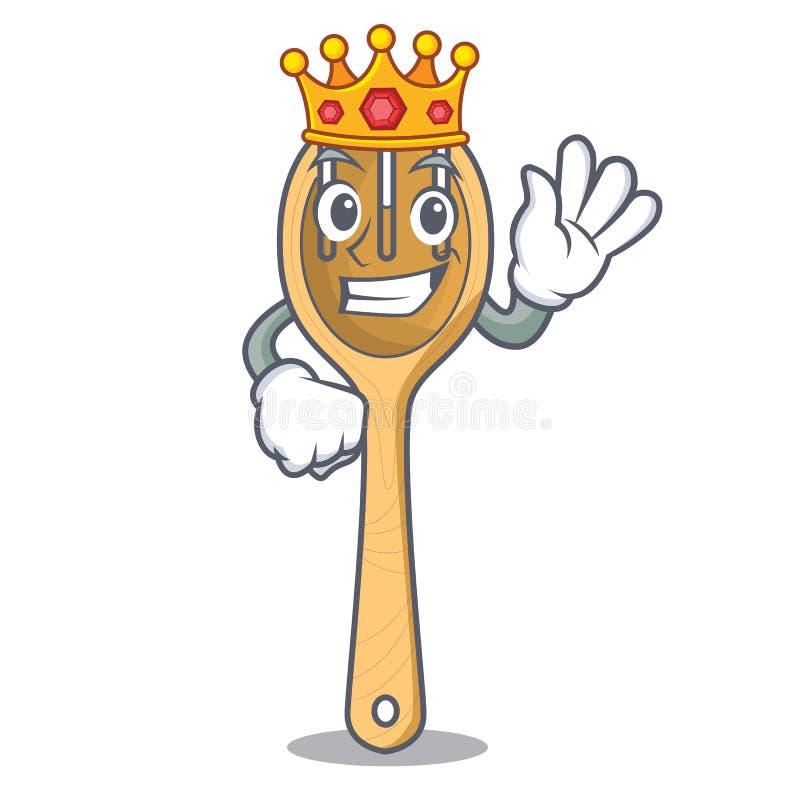 Bande dessinée en bois de mascotte de fourchette de roi illustration stock
