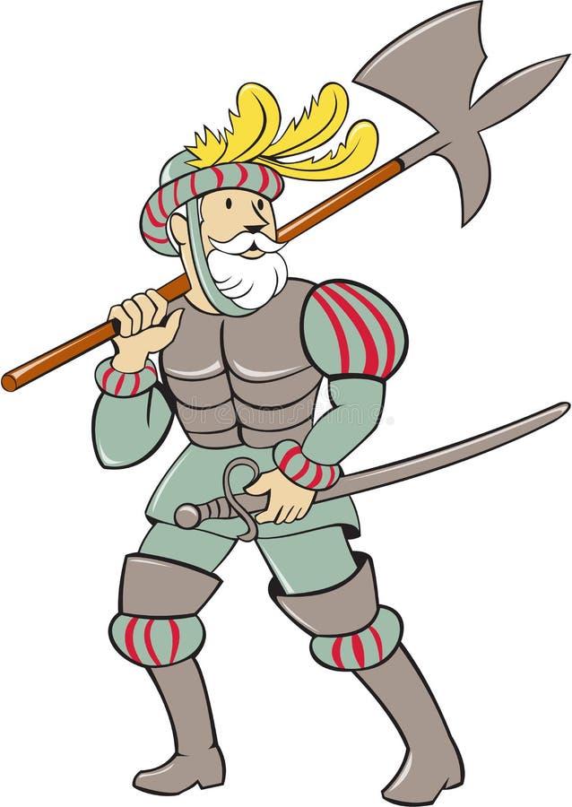 Bande dessinée espagnole d'épée de hache de conquérant illustration libre de droits