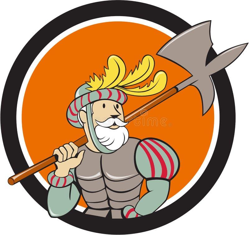 Bande dessinée espagnole de cercle d'épée de hache de conquérant illustration stock