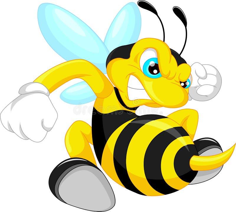 Bande dessinée fâchée d'abeille illustration de vecteur